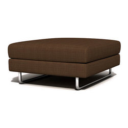 TrueModern - TrueModern Hamlin Calvin Chocolate Ottoman - Features: Color: Calvin Chocolate / Medium density cushion / Textured 100% polyester / Classic baseball stitching / Brushed nickel, steel tube legs.