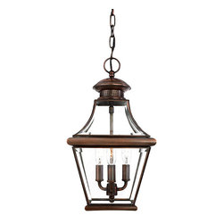 Frontgate - Carlisle Pendant Light - Frontgate - Crafted from solid copper for durability. Aged copper finish. Clear beveled glass panels. Professional installation recommended. Post not included with Post Mount Lamp. The historical design of our Carlisle Outdoor Lighting will bring a handsome colonial appeal to your home. Crafted from solid copper, the square tapered frame boasts a curved top that adds a touch of elegance to your entryway's illumination. . . . . .