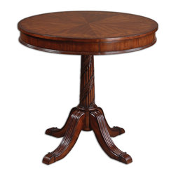 Uttermost - Brakefield Pecan Round Table - Put it on a pedestal — table, that is. Elegant and refined, this round table gets its gorgeous grain from cherry, primavera, zebrawood and cedar burl veneers. Grandly sized, it adds instant impact wherever it's placed.