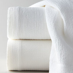 "Charisma - Charisma Queen Como Matelasse Quilt, 92"" x 96"" - Pintucked ""Isabella"" bed linens come in an array of colors, as do ""Madison"" 450-thread-count sheeting finished with tuck detail on the 5"" cuff . ""Como"" matelasse accessories, made in Portugal, come in ivory or white. All of cotton. By Charisma®. F..."
