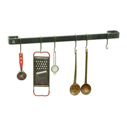 """Enclume - Premier Hammered Steel Utensil Bar, 30"""" - Get your utensils out of the drawer and up where you can readily use them. Install this versatile copper plated utensil bar alone or with your cookware rack for the perfect complementing finish."""
