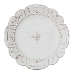 Jardins Du Monde Dinner Plate - Whitewash - Lavishly detailed with an enchanting break in its Whitewash glaze to emphasize the texture of graceful trimmings, the Jardins du Monde Dinner Plate was inspired by the elegant plans of formal garden design.  Multiple generous scallop forms in the edges of the elite stoneware plate provide a space for the beaded texture to play out its potential for dainty borders and graceful sweeps.