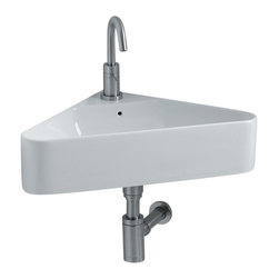 "WS Bath Collections - Normal Wall Mounted / Vessel Bathroom Sink, Wall Mounted Sink - Normal WS115, 16.5"" x 16.5"" x 5.1"", Wall Mounted Sink in Ceramic White"