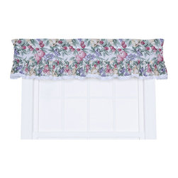 Ellis Curtain - Harvest Fruit Natural 52 x 12-Inch Ruffled Valance - - Ellis Curtain Kitchen Collection Harvest Fruit Ruffled Valance - We?ve designed our Kitchen Collection Line with three things in mind? To have beautiful printed patterns, be machine washable and inexpensive. The Harvest Fruit Collection is an elegant pattern of various fruits and leafy branches on a solid background that will reflect the atmosphere, mood and theme that you are looking to create in your kitchen. Made from 70-percent polyester and 30-percent cotton creates a sturdy valance that is extremely durable and will hold its color and shape even after repeated washings. The ruffled valance is constructed with a standard 1.5-Inch rod pocket, 2.5-Inch header and ruffled border with lace trim accent. Length is measured overall 12-Inch from header top (ruffle above the rod pocket) to bottom of panel. Width is measured overall 52-Inch. For wider windows simply add multiple ruffled valances together. Also available are ruffled tailored tier curtains   - A drapery rod, which is not included, is required to complete installation Ellis Curtain - 730462646545