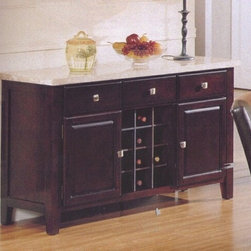 "Acme - Britney White Marble Top Side Server with Wine Storage and Drawers - Britney white marble top side server with wine storage and drawers. features a white marble top with an espresso finish wood base with 3 pull out drawers, 2 side cabinets and a wine storage area. measures 56"" x 18"" x 34""H."