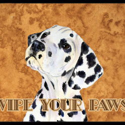 Caroline's Treasures - Dalmatian Wipe Your Paws Indoor Or Outdoor Mat 24X36 Ss4892Jmat - Dalmatian Wipe your Paws Indoor or Outdoor Mat 24x36 SS4892JMAT INDOOR / OUTDOOR FLOOR MAT 24 inch by 36 inch Action Back Felt Floor Mat / Carpet / Rug that is Made and Printed in the USA. A Black binding tape is sewn around the mat for durability and to nicely frame the artwork. The mat has been permenantly dyed for moderate traffic and can be placed inside or out (only under a covered space). Durable and fade resistant. The back of the mat is rubber backed to keep the mat from slipping on a smooth floor. Wash with soap & water.