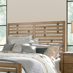 "Broyhill� - Ember Grove Panel Headboard - The casual contemporary Ember Grove panel bed has figured ash veneers in a weathered khaki finish and modern slat design. Features: -Gloss Finish: No.-Finish: Weathered khaki.-Powder Coated Finish: No.-Non Toxic: No.-Scratch Resistant: No.-Adjustable Height: No.-Nailhead Trim: No.-Lighting Included: No.-Wall Mounted: No.-Reversible: No.-Media Outlet Hole: No.-Built In Outlets: No.-Distressed: No.-Hidden Storage: No.-Freestanding: No.-Frame Required: Yes.-Frame Included: No.-Swatch Available: No.-Product Care: Never allow water or damp items to sit on your headboard including cleaning cloths, sponges, etc. Never allow alcohol-based products including some cleaners, nail polish and perfumes to come in contact with the wood. They can dissolve the furniture finish on contact, requiring professional repairs. Chemicals in plastic may soften and injure the finish if exposed over a long period of time. Avoid placing hot objects on any furniture surface. Prolonged exposure to direct sunlight can fade the finish, while extreme temperature and humidity changes can cause cracking or splitting. Dust frequently with a clean, damp lint-free cloth to remove abrasive buildup which can damage the finish over time. Occasionally polish with a high-quality non-silicone furniture polish every few months to enhance the beauty of the multi-step finish. Spray the polish onto a clean cotton cloth, apply it to the furniture, and then buff with a second clean, dry cotton cloth. Note that any polish may make a low sheen finish appear more glossy. Avoid oily polishes and waxes. Remove sticky accumulations of skin oils to avoid professional repairs. Wipe the area with a clean cotton cloth dampened with mineral spirits, then buff with a second clean cotton cloth. Touch up small marks and scratches with a marker, scratch remover, or touch-up stick. These can be purchased at any paint store..-Recycled Content: No.Specifications: -Green Guard Certified : No.Dimensions: -Overall Width - Side to Side (Size: Queen): 64"".-Overall Width - Side to Side (Size: King): 80"".-Overall Depth - Front to Back (Size: Queen): 2"".Assembly: -Assembly Required: Yes.-Additional Parts Required: No.Warranty: -Product Warranty: Limited."
