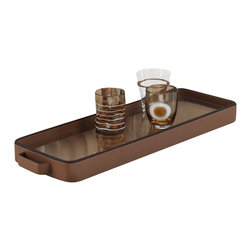 Zodax - Zodax Oblong Tan Faux Leather Serving Tray - Zodax - Serving / Decorative Trays - NCX2448 - Oblong Tan Faux Leather Serving Tray