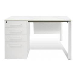 "Jesper Office Furniture - 500 Series 47.5"" Clerk Desk in White Lacquer - Features:"