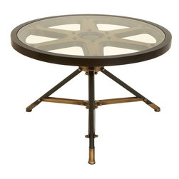 Benzara - Metal Glass Table Circular Table Designed In The Shape Of A Movie Reel - If you are left with small space in your room and you want to use this space purposely, have a look over 51688 METAL Glass TABLE. This metal glass table is a circular table designed in the shape of a movie reel.Size: 32 in. W, 20 in. H