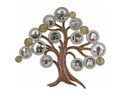 Uttermost - Maple Tree Hanging Photo Collage - The ultimate family tree. Made of hand-forged metal, 'leaves' are frames for your favorite snapshots. The arboreal collage holds 10 4x4 and three-5x5 photos and will burst with your photographic blooms.