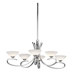 Kichler Lighting - Kichler Lighting 43022CH Brooklands 6-Light Modern / Contemporary Chandelier - Like the flourish you give to your signature, this 6 light halogen chandelier from the Brooklands™ collection will bring personal style to your space. A sleek metal design, a Polished Chrome finish, and flawless Satin Etched Cased Opal Glass combine to create a delicate statement for any space.