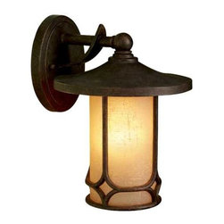 Kichler Lighting - Kichler 11-Inch Outdoor Wall Light - 9365AGZ - Set an ambience of quiet comfort with this lantern-style outdoor wall light. Combining bronze-finished cast aluminum with an opaque shade of amber glass, this classic outdoor fixture radiates a warm, welcoming glow. Takes (1) 75-watt incandescent A19 bulb(s). Bulb(s) sold separately. CSA listed. Wet location rated.