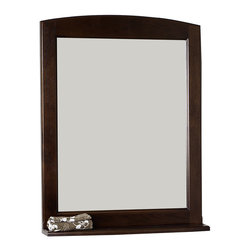 American Imaginations - 24-in. W x 32-in. H Traditional Birch Wood-Veneer Wood Mirror - This traditional wood mirror belongs to the exquisite Juliet design series. It features a rectangle shape. This wood mirror is designed to be installed as an wall mount wood mirror. It is constructed with birch wood-veneer. This wood mirror comes with a lacquer-stain finish in Walnut color. Victorian style mirror constructed with high quality premiumglass with bevelled edges This Wood Mirror features Antique Brass hardware. No assembly required.