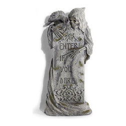 """Grandin Road - Enter If You Dare Halloween Tombstone - Halloween Decorations and Decor - 14""""W x 30""""H, 7 lbs."""