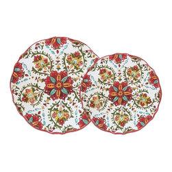 Le Cadeaux - Le Cadeaux Allegra Red 16 Piece Set, Plate Set - Set includes: