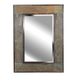 Kenroy - Kenroy 60089 White River Wall Mirror - A classic, symmetrically tiled design of Natural Slate strips create a majestic frame with a finished, rustic appeal.