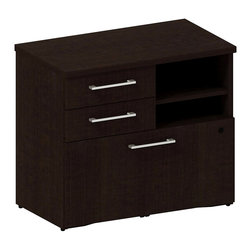 "Bush - Bush 300 Series Lower Piler and File Cabinet in Mocha Cherry - Bush - Filing Cabinets - 300SFP30MR - Don't let work pile up! Keep it handy and at your fingertips. Versatile go-anywhere BBF Mocha Cherry 300 Series 30""""W Lower Piler/Filer Cabinet offers open and concealed storage. Two box drawers store office supplies and more. Open cubby with one adjustable shelf lets you stack books papers and more. Flexible multi-functional lateral file drawer holds letter- legal- or A4-size files. Solid sturdy top surface allows heavy loads without sagging. Hide unsightly wires cords and cables via wire management grommets. Easy-to-situate with adjustable levelers for stability on uneven floors. Tough edge banding resists dents dings nicks scrapes and collision impacts. Diamond Coat(TM) top surface is scratch/stain resistant. Mocha Cherry finish complements any office decor and matches other 300 Series pieces. Includes BBF Limited Lifetime warranty."