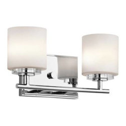 """Kichler - Kichler 45501CH O Hara 2 Light Bathroom Lighting in Chrome 45501CH - Add a touch of bling and make any modern bath glamorous with this 2 light bath light from the O'Hara collection. The light from the Satin Etched Cased Opal glass sparkles on the clean lines of the Chrome finish and crystal bobeche.Fixture housing is constructed of steel - ensuring years of reliable performance Ambient light casts soft generalized illumination over a wide area Kichler's line of bathroom fixtures are designed to disperse optimal light for all lavatory needs Ultra secure mounting assemblyBase Backplate: 7"""" x 4.5"""" Bulb Base: G9 Bulb Type: Halogen Collection: O Hara Country of Origin: China Energy Efficient: No Extends: 5 Finish: Chrome Height: 6-1 4 Light Direction: Ambient Lighting Material: Steel Number of Lights: 2 Safety Rated: Damp Shade Color: White Shade Material: Glass Shade Shape: Cylinder Style: Transitional Wattage: 50 Weight: 3.2 Width: 13"""