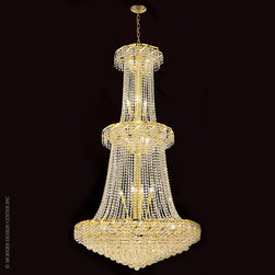 Worldwide Lighting Empire Chandelier W83036G36 - Worldwide Lighting Empire Collection 32 light Gold Finish and Clear Crystal Chandelier Two 2 Tier