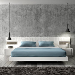 Amore White Lacquer/Natural Wood Bed -