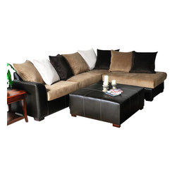 Chelsea Home Furniture - Chelsea Home Domino Sectional in San Marino Brown/Viva Chestnut - Domino Sectional in San Marino Brown/ Viva Chestnut belongs to Benchmark collection by Chelsea Home Furniture.
