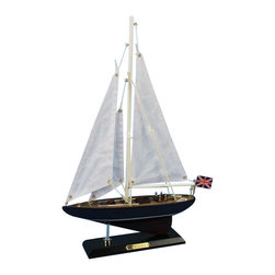 "Handcrafted Nautical Decor - Endeavour 16"" - Wood Sailing Yacht Model -Sailboat Centerpiece - Not a model skip kit"