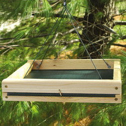 Songbird Essentials - 10.5 Inch x 11.5 Inch Hanging Feeder - 10.5 in. x 11.5 in. Hanging Feeder. The feeder for the person with no room to feed birds. You can hang this reinforced screen bottom tray on your patio, balcony, tree branch or yard hook.