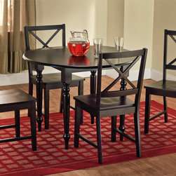 Simple Living - Simple Living Black Drop Leaf 5-piece Dining Set - This 5-piece dining set will add a touch of country charm to your dining or kitchen. This set includes  a table and four chairs with a black finish.