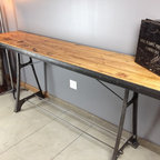 Bowling alley Bar Table - 100% custom bar table crafted from bowling alley lane and early 1900's cast iron rivoter legs