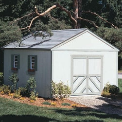 Handy Home Columbia Storage Shed - 12 x 20 ft. - Just because the Handy Home Columbia Storage Shed - 12 x 20 ft. doesn't have a proper address that the postman can deliver unwanted MasterCard applications to doesn't mean that it's less of a home to your large equipment or off-road vehicles. They'll feel safe and sound inside the solid wood structure, and you'll have plenty of tall storage with the 7-foot high walls around a 10-foot peak. Extra-wide double doors let you get in and out easily, and the doors can be placed on any wall of the structure for your convenience. Door opening measures 64W x 72H inches. Depending on your needs, this shed can be purchased with or without a floor, and the pre-primed exterior is ready for the paint of your choosing. All the hardware you need is included, so just follow the detailed instructions and you're ready to go.About Handy HomeSince 1978, Handy Home has been making it easy and affordable for their customers to add storage sheds, gazebos and playhouses to their homes. As North America's largest producer of wooden storage and recreational building kits, Handy Home makes durable structures that require no sawing or drilling and can be delivered when and where their customers need them.