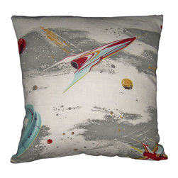 "Mid Century Home USA - Atomic Pillow Cover Barkcloth Rocket Space Age - This pillow cover (Fly Me To The Moon I ) is soooo 1950's, when people dreamed of flying to the moon. The design is epic and very rare. The fabric is nicely textured, medium weight 1950's barkcloth.  Watch for this pillow on the new ABC TV series ""Astronauts Wives' Club"" in November! Light blue, red, gray and light gold sit on an off white background. The back is a coordinating red duck cloth canvas. The seams are professionally serged to prevent fraying. The pillow insert is NOT included. The pillow is 19"" X 19"", use an 20"" pillow insert to ensure a very plump pillow."