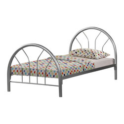 Monarch Specialties - Monarch Specialties I 2389S Silver Metal Twin Bed Frame - This twin bed frame offers a calming simplicity with gracious curves. The two inch metal tubing of the headboard, footboard, and frame is wrapped in a silver metal creating an inviting and relaxed look in your child's bedroom.  Bed Frame (1)