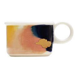 Canyon Series: Bryce Hand Painted Porcelain Espresso Mug With 14K Gold Luster - The Canyon Series is a line of work inspired our travels. Each color palette represents the awe inspiring natural hues at sunset of our favorite national parks. The mug here attempts to capture the aura and magic of Bryce Canyon.
