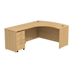 """BBF - BBF Series C 60W x 43D LH L-Desk with 3Dwr Mobile Pedestal - BBF - Computer Desks - SRC007LOLSU - Clean and classic the BBF Series C L-Desk creates a professional workspace anywhere. The ample space of the 60""""W x 43""""D L-Bow Desk Shell and 36""""W Return Bridge provide individual work space while the bow front offers seating space for visitors or collaboration work. Comprised of a thermally fused laminate the oversize work surface boasts a durable finish that resists scratches and stains to maintain its good looks. An integrated wire management system provides desktop grommets to assist in keeping the work surface clean and looking professional. A 3-Drawer Mobile Pedestal unit rounds out this office featuring two box drawers to keep office supplies close and a single file drawer which accommodates letter legal and A4 size files and a front face locking system to secure the file drawer and lower box drawer. Operating on full-extension ball bearing slides each drawer provides full content access and the convenient mobile unit fits neatly under the desktop to minimize the office footprint. With a finish to match any decor additional BBF Series C pieces allow for additional configurations as your needs evolve and grow. Solid construction meets ANSI/BIFMA test standards in place at time of manufacture; this product is American Made and is backed by BBF 10-Year Warranty."""