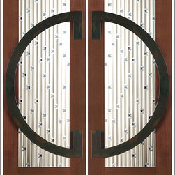 """AAW Inc. - Contemporary Entry Door Model NW-1780 - Model NW-1780 from our New World Collection. Door is solid Mahogany, 2-1/4"""" thick with decorative glass and  iron work on the outside."""