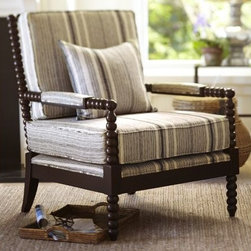 Sabine Spindle Armchair - I love this slightly masculine and casual stripe. The turned arms and legs still fit well in various interiors.