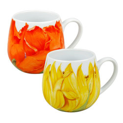 Konitz - S/2 Poppy & Sunflower Snuggle Mug - With two, vibrant floral prints that'll warm your insides just as much as the coffee or tea inside, these cozy mugs are perfect for snuggling up with a good book or chatting with a girlfriend. They've got a rounded, cuppable shape with handle, so you can hold them whichever way you like best.