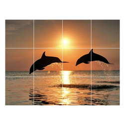 Picture-Tiles, LLC - Dolphin Picture Wall Back Splash Tile Mural  18 x 24 - * Dolphin Picture Wall Back Splash Tile Mural 1485