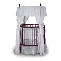 Angel Line - Fixed Side Round Crib and Mattress Set - The Round Crib comes with a canopy frame and adds luxurious to your nursery. It's elegant and unique design creates a royal haven for your little one. Front wheels lock for security and an under the mattress wooden support bar is included to insure moms peace of mind, The round crib features four turned canopy posts, a canopy frame, four positions mattress supports, fixed drop side system (no drop side gate) and large double wheel casters. Round cribs are safer by design: no concussion points, easier child access and increased child visibility (4-sided), no corners to endanger children. Features: -Crib.-Mattress is adjustable to 4 positions.-Fixed side meets CPSC new standards.-Metal canopy hardware is removable.-Wheels with locking casters included.-Sturdy solid hardwood construction.-Beautiful non toxic finish.-Product Type: Round Crib.-Design: Traditional.-Style: Traditional.-Collection: Mary.-Hardware Finish: Silver.-Distressed: No.-Gloss Finish: No.-Material: Solid Wood.-Hardware Material: Steel.-Number of Items Included: 2.-Solid Wood Construction: Yes.-Reclaimed Wood: No.-Wood Tone: Light.-Non Toxic: Yes.-Lead-Free: Yes.-Non-allergenic: Yes.-Water Resistant: Yes -Water Resistant Details: Water Resistant Finish..-Scratch Resistant: No.-Stain Resistant: Yes.-Fire Resistant: No.-Finished Back: Yes.-Mattress Included: Yes -Mattress Air Vents: Yes.-Mattress Type: No.-Mattress Fill Material: Polyurethane..-Under Crib Storage: Yes.-Drop Side Crib: No.-Adjustable Mattress Height: Yes -Number of Mattress Height Settings: 3..-Conversion Set Available: No.-Convertible: No.-Life Stage: Baby.-Canopy: No.-Wheels/Castors: Yes -Locking Wheels: Yes..-Crib Feet: Yes -Number of Feet: 4.-Foot Design: Straight legs.-Removable Feet: No..-Folding: No.-Rocking: No.-Toddler Safety Rail Available: No.-Toddler Safety Rail Included: No.-Changing Table Included: No.-Hamper Included: No.-Drawers Included: No.-Shelving: No.-Weight Capacity: 80.-Commercial Use: Yes.-Recycled Content: No.-Eco-Friendly: No.-Product Care: Wipe clean with a dry cloth.Specifications: -JPMA Certified: No.-ASTM Compliant: Yes.-CPSIA or CPSC Compliant: Yes.-Sixteen CFR Compliant: Yes.-ANSI BIFMA Compliant: Yes.-CSA Certified: Yes.-EPP Compliant: No.-fiRA Certified: No.-FSC Certified: No.-General Conformity Certificate: Yes.-Green Guard Certified: No.-ISTA 3A Certified: No.-ITTO Compliant: No.-SFI Certified: No.-Health Canada Compliant: No.-eko-Tex Standard Compliant: No.Dimensions: -Overall Height - Top to Bottom: 70.-Overall Width - Side to Side: 46.-Overall Depth - Front to Back: 46.-Height from Floor to Crib: 9.-Height from Top of Bed to Top of Railing: 9.-Mattress: -Mattress Thickness: 5.-Mattress Width - Head to Foot: 42.-Mattress Depth - Front to Back: 42..-Overall Product Weight: 88.Assembly: -Assembly Required: Yes.-Tools Needed: Tools Included.-Additional Parts Required: No.