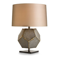 Drea Lamp - Heavy-gauge sheet steel welded with brass forms the faceted ball at the center of the Drea Lamp.  This mixed-metal mood light, which is perfect for anchoring the lines of a delicately-constructed headboard or for adding visual strength to a living space, takes an unexpected approach to proportion that provides a rewarding sense of the innovative.