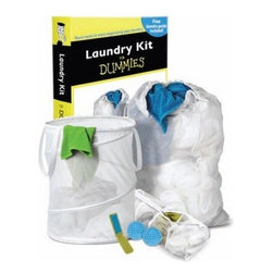Laundry Kit for DUMMIES - When considering a housewarming gift or something to prepare your kids as they head off to college take a look at the Laundry Kit for DUMMIES. This is the perfect all-in-one combo for all their laundry needs. First a pop-open mesh spiral hamper will help them keep their dirty clothes off the floor and the mesh laundry bag will make trips to the Laundromat or basement a cinch. There's a hosiery wash bag to keep those delicate items safe in the wash. A double pack of fabric softening dryer balls eliminates the need for them to have to remember to add the fabric softener. Finally a travel size lint brush keeps their clothes looking good wherever they are.About Honey-Can-DoHeadquartered in Chicago Honey-Can-Do is dedicated to helping you organize your life. They understand that you need storage solutions that are stylish and affordable at the same time. Honey-Can-Do focuses on current design trends and colors to create products that fit your decor tastes while simultaneously concentrating on exceptional quality. When buying a Honey-Can-Do product you can be sure you are purchasing a piece that has met safety control standards and social compliance methods.
