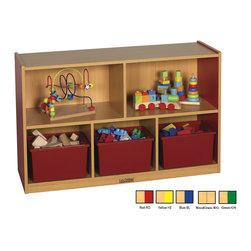 """Ecr4kids - Ecr4Kids Classroom 30""""H Colorful Essentials Storage Cabinet  Blue - 5 Comp - The Colorful Essentials Mobile Storage Cabinets are the perfect height for children. Sturdy construction and easy-to-clean laminate compliments any classroom. warm Maple laminate with colored sides. Storage bins not included."""