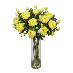 Nearly Natural - Giant Peony Silk Flower Arrangement - Elegant beauty comes to mind when we look at our Giant Peony with vase. Standing tall and proud (as an elegant flower should) at 38 inches, this tastefully designed arrangement of different sized flowers set against a background of green is sure to add a touch of class anywhere. Comes with a clear glass vase and liquid illusion so realistic they look like they just came from the garden.