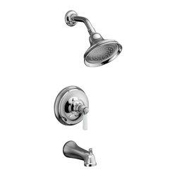 KOHLER - KOHLER Bancroft Rite-Temp Pressure-Balancing Bath and Shower Faucet Trim - KOHLER K-T10581-4P-CP Bancroft Rite-Temp Pressure-Balancing Bath and Shower Faucet Trim with Diverter Spout and White Ceramic Lever Handle, Valve Not Included in Chrome