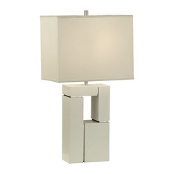 Nova Lighting - Nova Lighting Segments Transitional Table Lamp X-1800101 - This Nova Lighting table lamp features a rectangular base that is created by layering geometric shapes. The base is highlighted in High Gloss White, and complimented by Brushed Nickel accents that hold the individual pieces together. This transitional table lamp is complete with a white linen rectangular shade.