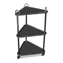 Kathy Kuo Home - Wallance Industrial Loft 3 Tier Metal Casters Cart Side Table - A tasteful, three-tiered metal cart solves storage, display and space issues with one stylish solution. Triangular shelves fit perfectly in corners, while metal casters allow the display to be moved anywhere you need it.