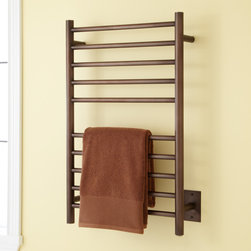 """20"""" Haydyn Hardwired Towel Warmer - Ten rails on the 20"""" Haydyn Towel Warmer allow you to hang multiple towels or wet clothing. This electric towel rack mounts to the wall."""