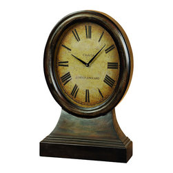 "ecWorld - Antique Replica Just on Time London Wood Table Clock - The London, Englad table clock offers classic styling with antique flair. Distressed finishing and an aged and weathered face inscribed with ""Clock Co. London, England"" give this oval clock the appearance of an old and vintage collectible, but this timepiece also has all the features of modern technology - you'll love it!"