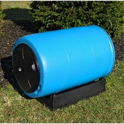 Good Ideas 55 Gallon Compost Wizard Recycled Plastic Compost Tumbler - Transformed from a juice-making drum into an eco-friendly composter this compost tumbler will help you turn your food scraps into nourishing fertilizer. The Good Ideas 55 Gallon Compost Wizard Recycled Plastic Compost Tumbler is made of durable recycled food-grade plastic resin. The strong barrel sits and rotates freely on wheels built into the stable black base. The low-profile design prevents tipping in strong winds and the wide 16-inch twist-on lid allows you to load and unload material easily. In fact use any spade or shovel to easily remove the compost material. Ventilation holes at both ends circulate air within the batch to accelerate rapid composting. The rotating drum can be removed from its base and rolled to any location for filling or dispensing - no lifting required. This compost tumbler eliminates the need for strenuous churning. All you have to do is rotate the drum on its stand to quickly and easily mix your compost materials. Turn it about once a week to keep oxygen nutrients micro-organisms and moisture evenly distributed throughout the developing batch. Within just weeks of accruing garden and kitchen waste this compost bin will transform your scraps into valuable organic material. Please note: Because it previously had juice in it the recycled drum may have original markings and scuffs on the surface which have since been tempered. It also might carry a light sweet aroma. This compost tumbler arrives fully assembled and is backed by a one-year warranty against manufacturing defects. About Good Ideas Inc.Based in Lake City Penn. Good Ideas Inc. was founded in 2001 and has been promoting green living ever since. Many of their innovative products have been featured in magazines newspapers TV shows and news stories. Good Ideas' products focus on sustainability and are developed from practical common-sense ideas generated from consumer needs. Good Ideas' great products include the 
